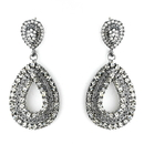 Elegance by Carbonneau E-1056-Smoked Antique Silver Smoked Black Earring Set 1056
