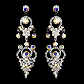 Elegance by Carbonneau e-1326-silver-ab Silver AB Earring Set 1326