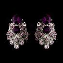 Elegance by Carbonneau e-1334-amethyst Silver Amethyst Rhinestone Clip On Earring E 1334