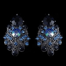 Elegance by Carbonneau E-1334-H-Navy Hematite Navy Blue AB Mix Clip On Earrings 1334