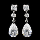 Elegance by Carbonneau Antique Silver Rhodium Clear CZ Crystal Drop Earrings 1414