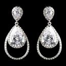 Elegance by Carbonneau Antique Silver Rhodium Clear CZ Crystal Drop Earrings 1415