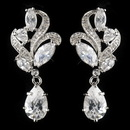 Elegance by Carbonneau Antique Silver Rhodium Clear CZ Crystal Drop Earrings 1419