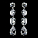 Elegance by Carbonneau E-1652-AS-Clear Dazzling Cubic Zirconium Dangling Earrings E 1652