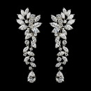 Elegance by Carbonneau E-1655--AS-Clear Silver Clear Tear Drop Marquise CZ Crystal Bridal Earrings 1655