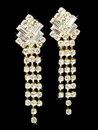 Elegance by Carbonneau E-20009-Gold Gold Crystal Dangle Clip On Bridal Earrings E 20009