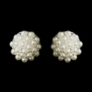 Elegance by Carbonneau E-20178-S-White Silver White Pearl Ball Bridal Earrings 20178