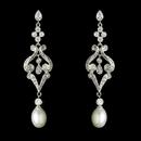 Elegance by Carbonneau E-2027-AS-DW Vintage CZ & Diamond White Pearl Bridal Earring 2027