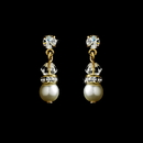 Elegance by Carbonneau E-212-Gold-Ivory Gold and Ivory Pearl Earrings E 212