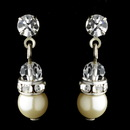 Elegance by Carbonneau E-216-Silver-Ivory Silver & Ivory Pearl Earrings E 216