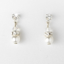 Elegance by Carbonneau E-216-Silver-White Silver & White Pearl Earrings E 216