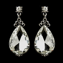 Elegance by Carbonneau E-22246-AS-Clear Antique Silver Clear Tear Drop Rhinestone Earrings 22246