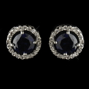 Elegance by Carbonneau Antique Silver Rhodium Sapphire CZ Crystal Round Stud Earrings 2288