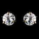 Elegance by Carbonneau E-2429-G-Clear Gold Cubic Zirconia Stud Earring E 2429