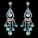 Elegance by Carbonneau e-24792-s-aqua Silver Aqua Chandelier Earrings 24792