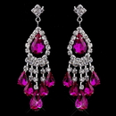 Elegance by Carbonneau e-24792-s-fuchsia Silver Fuchsia Chandelier Earrings 24792