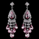 Elegance by Carbonneau e-24792-s-pink Silver Pink Chandelier Earrings 24792