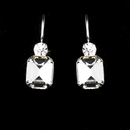 Elegance by Carbonneau E-25154-Silver-Clear Silver Clear Rhinestone Square Princess Cut Earring 25154