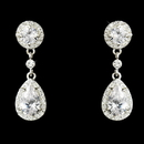 Elegance by Carbonneau E-25197-S-Clear Cubic Zirconia Bridal Earrings E 25197