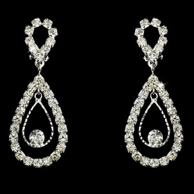 Elegance by Carbonneau E-25249-ClipOn Stunning Silver Clear Crystal Double Loop Clip-On Earrings 25249