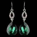 Elegance by Carbonneau E-25285-S-Emerald Silver Emerald & Clear CZ Crystal Drop Earrings 25285