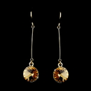 Elegance by Carbonneau E-25729-G-Topaz Elegant Gold Topaz Crystal Drop Earrings 25729