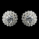 Elegance by Carbonneau E-26605-S-Clear Round Silver Sunburst Rhinestone Stud Earrings 26605