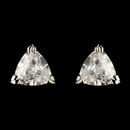 Elegance by Carbonneau E-3531-RD-CL Rhodium Clear Trillion Cut CZ Crystal Triangle Stud Earrings 3531