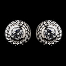 Elegance by Carbonneau E-3587-AS-Clear Vintage Silver CZ Clear Stud Earrings 3587