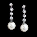 Elegance by Carbonneau E-3626-AS-White Stunning Silver Clear Cubic Zirconia & White Pearl Earrings 3626