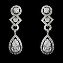 Elegance by Carbonneau E-3824-AS-Clear Antique Silver Clear Cubic Zirconia Bridal Earrings E 3824 (Clip On or Pierced)