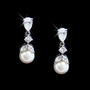 Elegance by Carbonneau E-3905-AS-White Dainty Cubic Zirconia & Pearl Drop Bridal Earrings E 3905