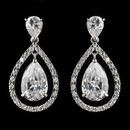 Elegance by Carbonneau Antique Silver Rhodium Clear CZ Crystal Drop Earrings 4026
