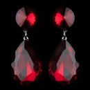 Elegance by Carbonneau Antique Rhodium Silver w/ Large Burgundy Teardrop Earrings 40698