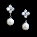 Elegance by Carbonneau E-5248-AS-White Cubic Zirconia Bridal Earring with Lustrous Pearl Drop E 5248