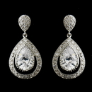 Elegance by Carbonneau E-5530-AS-Clear Antique Silver Clear CZ Dangle Drop Bridal Earrings 5530
