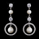 Elegance by Carbonneau E-5863-AS Antique Silver White Pearl & CZ Earrings 5863