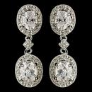 Elegance by Carbonneau E-5996-RD-CL Rhodium Clear Oval CZ Crystal Drop Earrings 5996