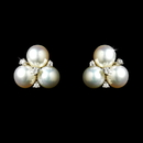 Elegance by Carbonneau E-6510-AS-White CZ & Freshwater triple pearl stud earring 6510
