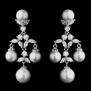 Elegance by Carbonneau E-7129-AS Lovely Antique Silver White Pearl & CZ Chandelier Earrings 7129