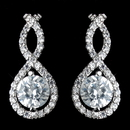 Elegance by Carbonneau Antique Rhodium Silver Clear CZ Crystal Petite Eternity Infinity Earrings 7407