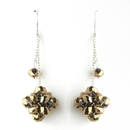 Elegance by Carbonneau E-7620-Gold-Brown Gold Brown Cluster Dangle Earring Set 7620
