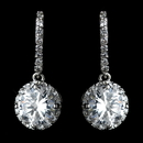 Elegance by Carbonneau Antique Rhodium Silver Clear Encrusted Hook With CZ Crystal Solitaire Drop Earrings 7736