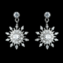 Elegance by Carbonneau Antique Rhodium Silver Clear Petite Snowflake CZ Crystal Drop Earrings 7737