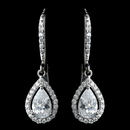 Elegance by Carbonneau Antique Rhodium Silver Clear Teardrop Encrusted CZ Crystal Leverback Earrings 7740