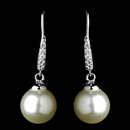 Elegance by Carbonneau Antique Rhodium Silver White Pearl & CZ Crystal Pave Encrusted Dangle Earrings 7757