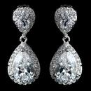 Elegance by Carbonneau Antique Rhodium Silver Clear  Tear Drop Pave Encrusted CZ Crystal Earrings 7761