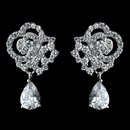 Elegance by Carbonneau Antique Rhodium Silver Clear Pave Encrusted Tear Drop Earrings 7764