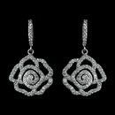 Elegance by Carbonneau Antique Rhodium Silver Clear CZ Crystal Encrusted Pave Rose Dangle Earrings 7765