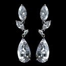 Elegance by Carbonneau Antique Rhodium Silver Clear CZ Crystal Marquise And Teardrop Earrings 7768